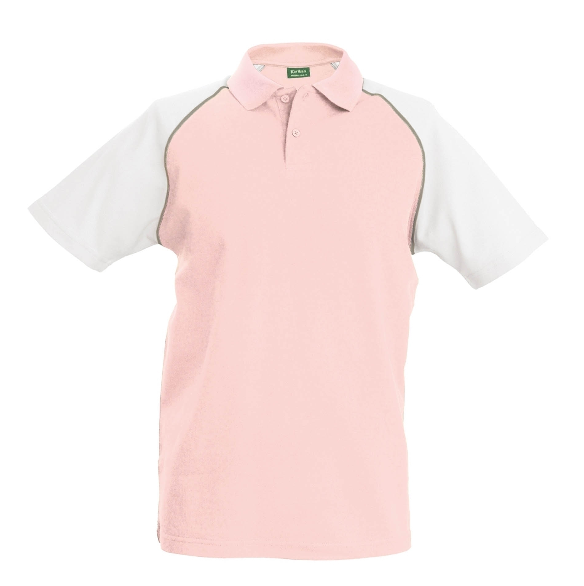 POLO BASE BALL MANCHES COURTES Pink / White Rose