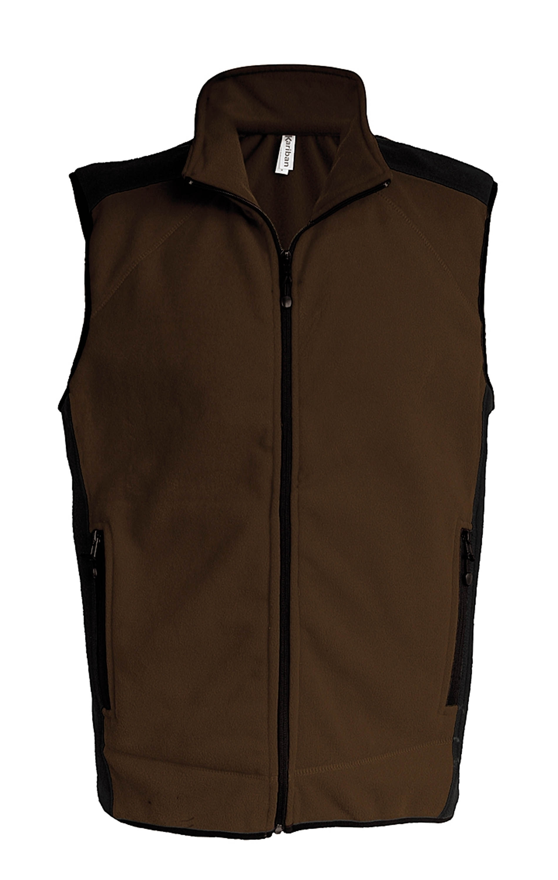 DIVO_ Gilet micropolaire bicolore Chocolate / Black Marron