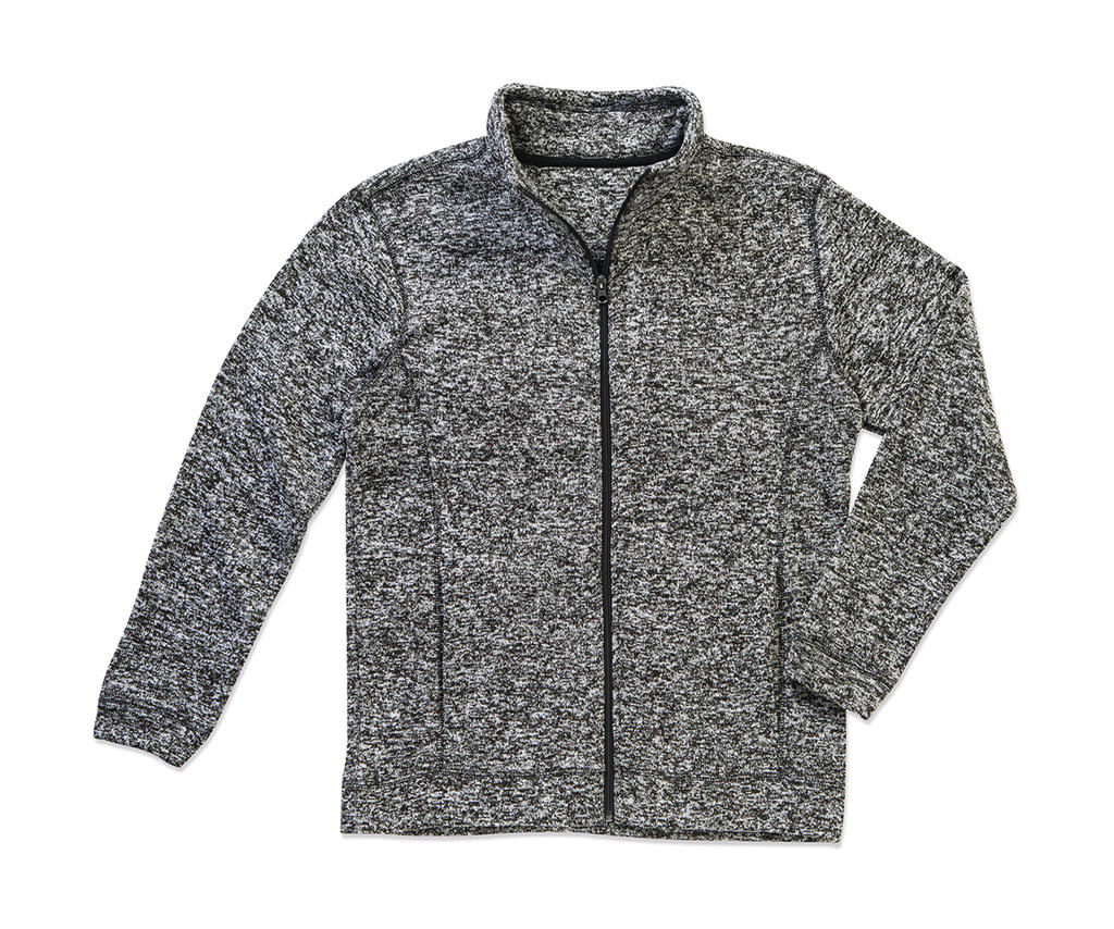 Active Knit Fleece Jacket Men Dark grey melange