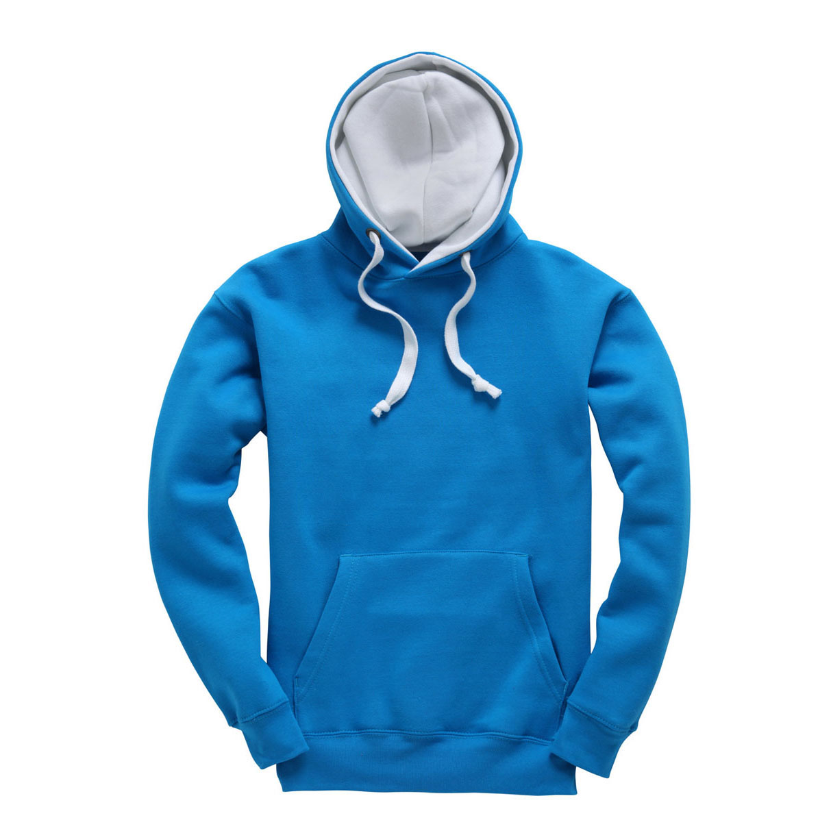 Sweat Hoodie contrasté Electric_Blue-White