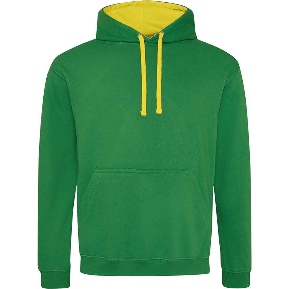 Sweat-shirt capuche Bicolore Kelly Green / Sun Yellow Vert