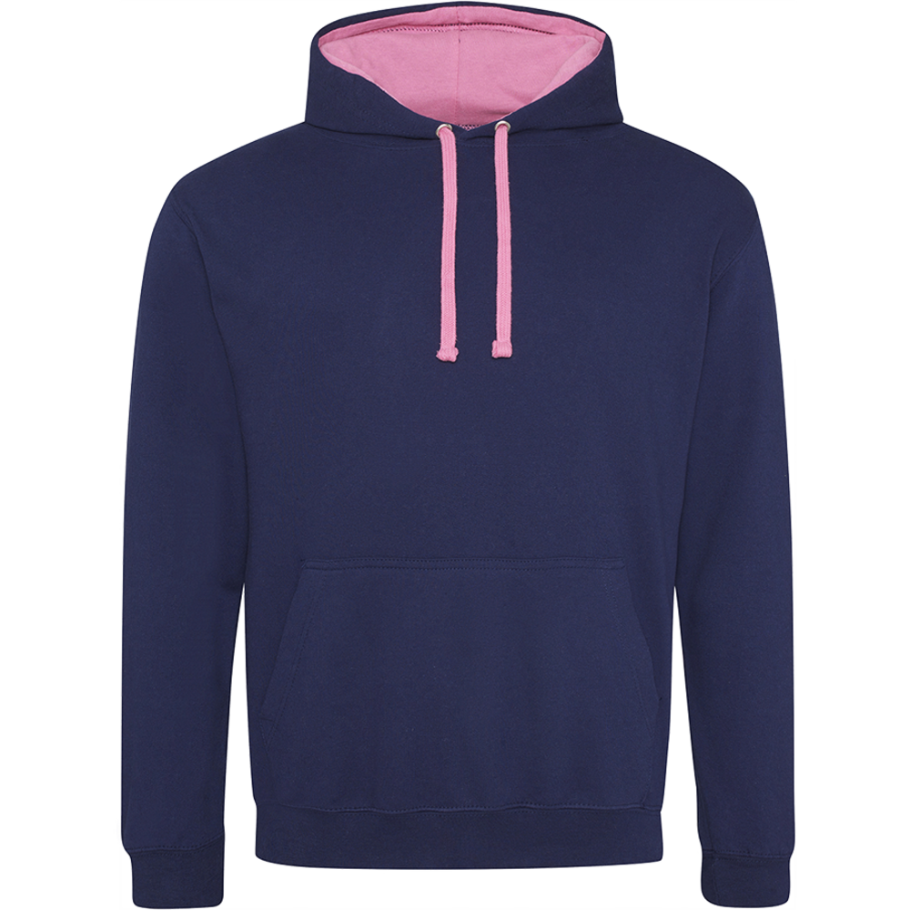 Sweat-shirt capuche Bicolor Oxford Navy / Candyfloss Pink Bleu