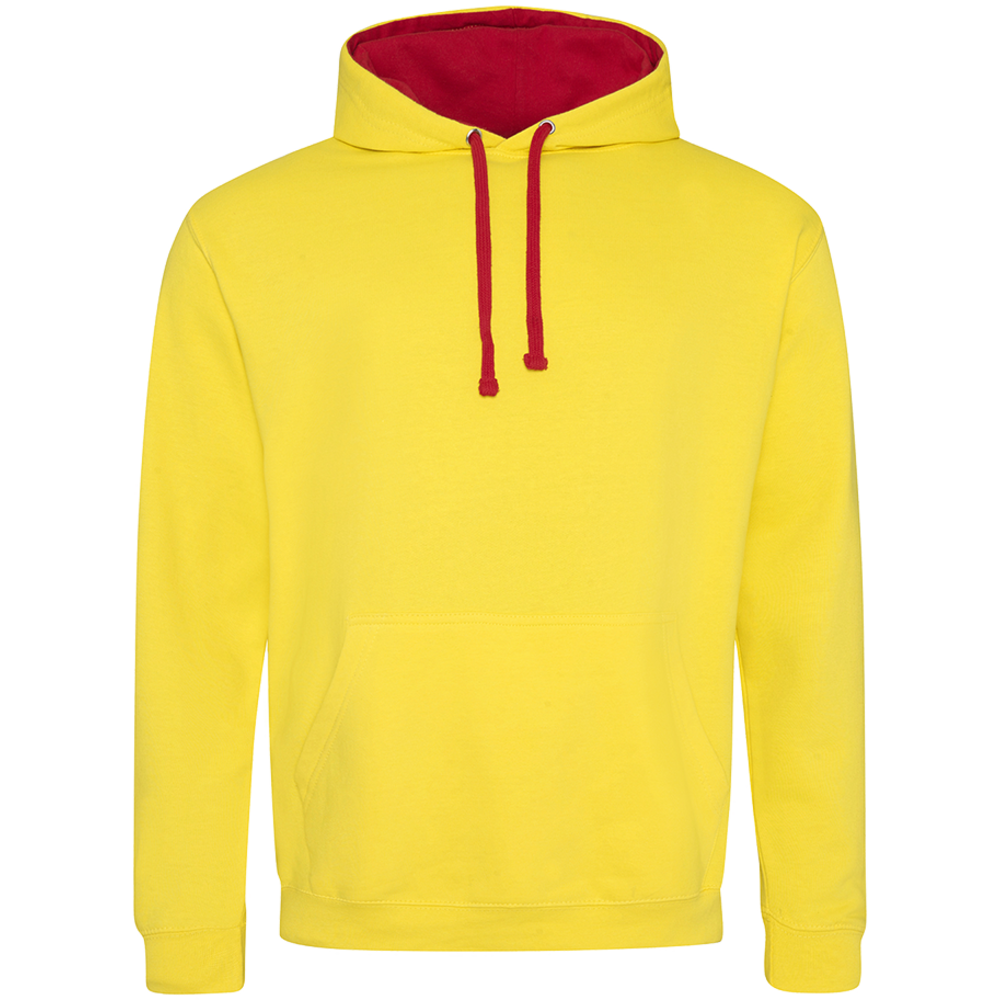 Sweat-shirt capuche Bicolor Sun Yellow/  Fire Red Jaune