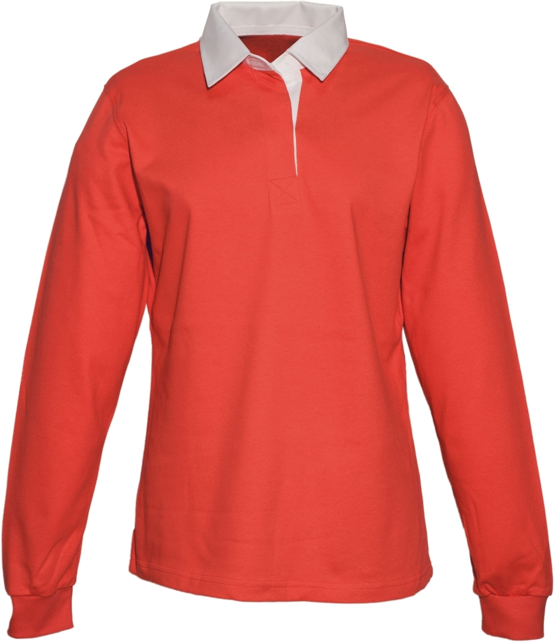 POLO RUGBY FEMME UNI COL BLANC Red Rouge