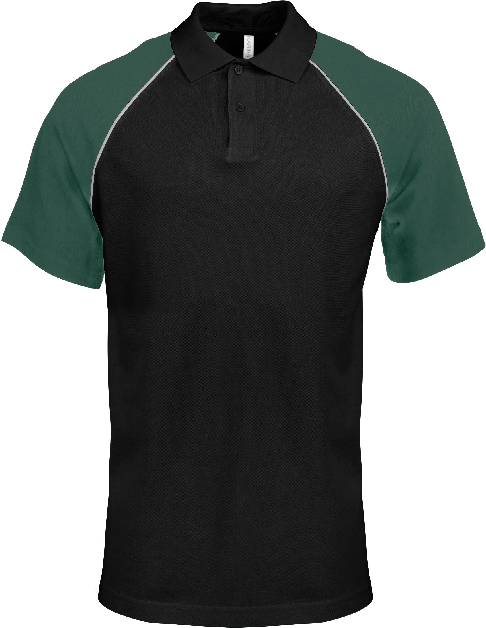 POLO BASE BALL MANCHES COURTES Black / Green Noir