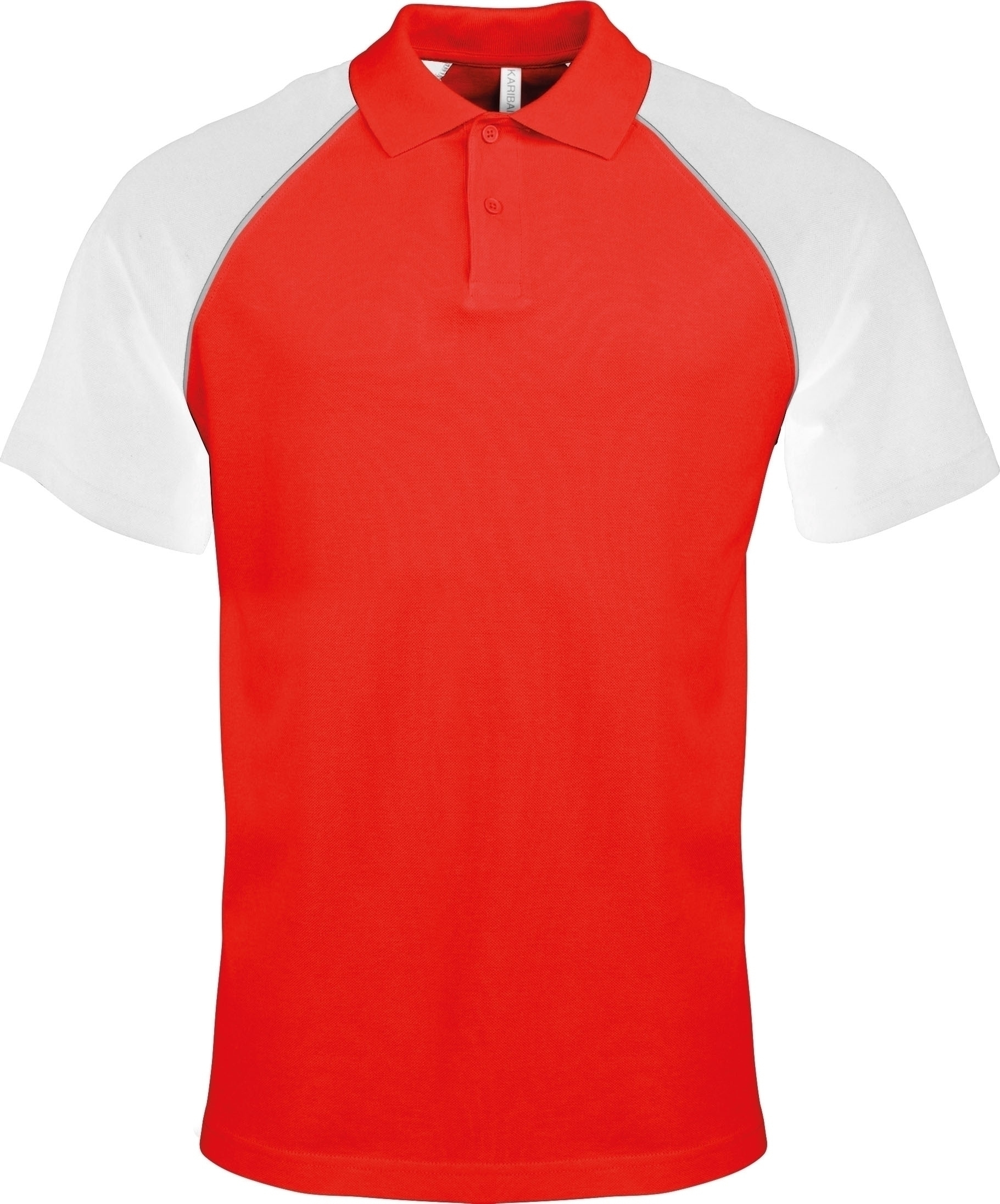 POLO BASE BALL MANCHES COURTES Red / White Rouge