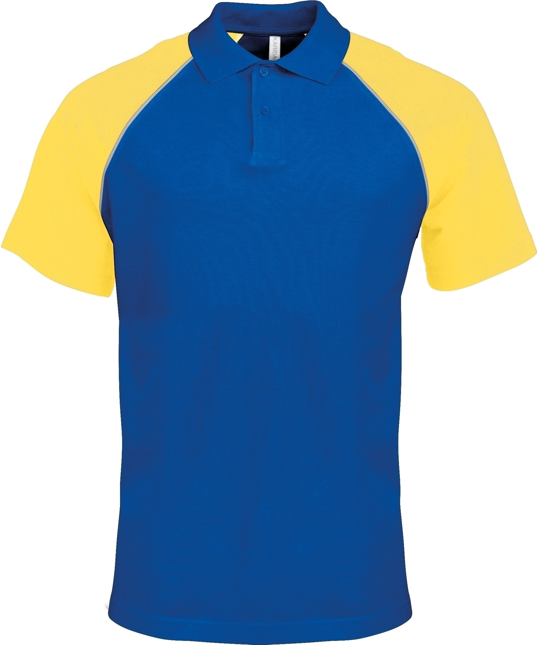 POLO BASE BALL MANCHES COURTES Royal Blue / Yellow Bleu