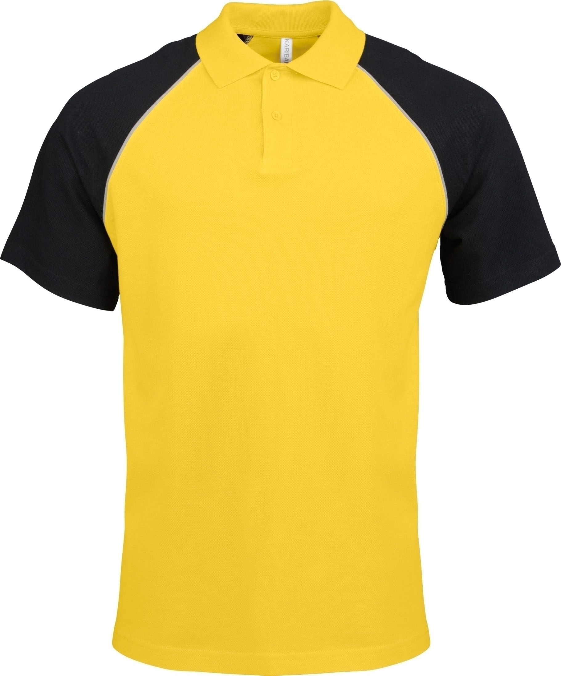 POLO BASE BALL MANCHES COURTES Yellow / Black Jaune